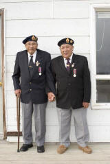 Oliver and Sinclair McCauley, World War Two veterans and brothers who live in Moosonee